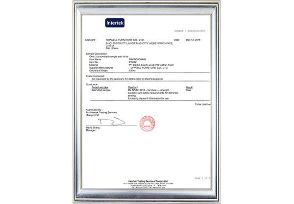 PC-072 EN12520 Test Certificate